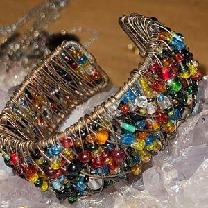 Anthropologie Wire Wrapped Glass Bead Bracelet